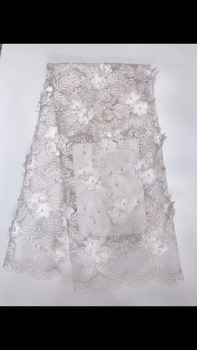 White Color High Quality Handmade Beaded Lace Fabric, 3D Pearls Lace Fabric Applique Tulle Net Lace Materials For Party RF442
