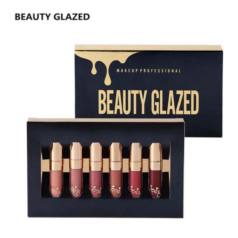 BEAUTY GLAZED Brand Makeup Lipstick Lip Gloss Matte Easy To Wear Long-lasting Waterproof Lip Gloss Lip 6 Colors In Set цена 2017