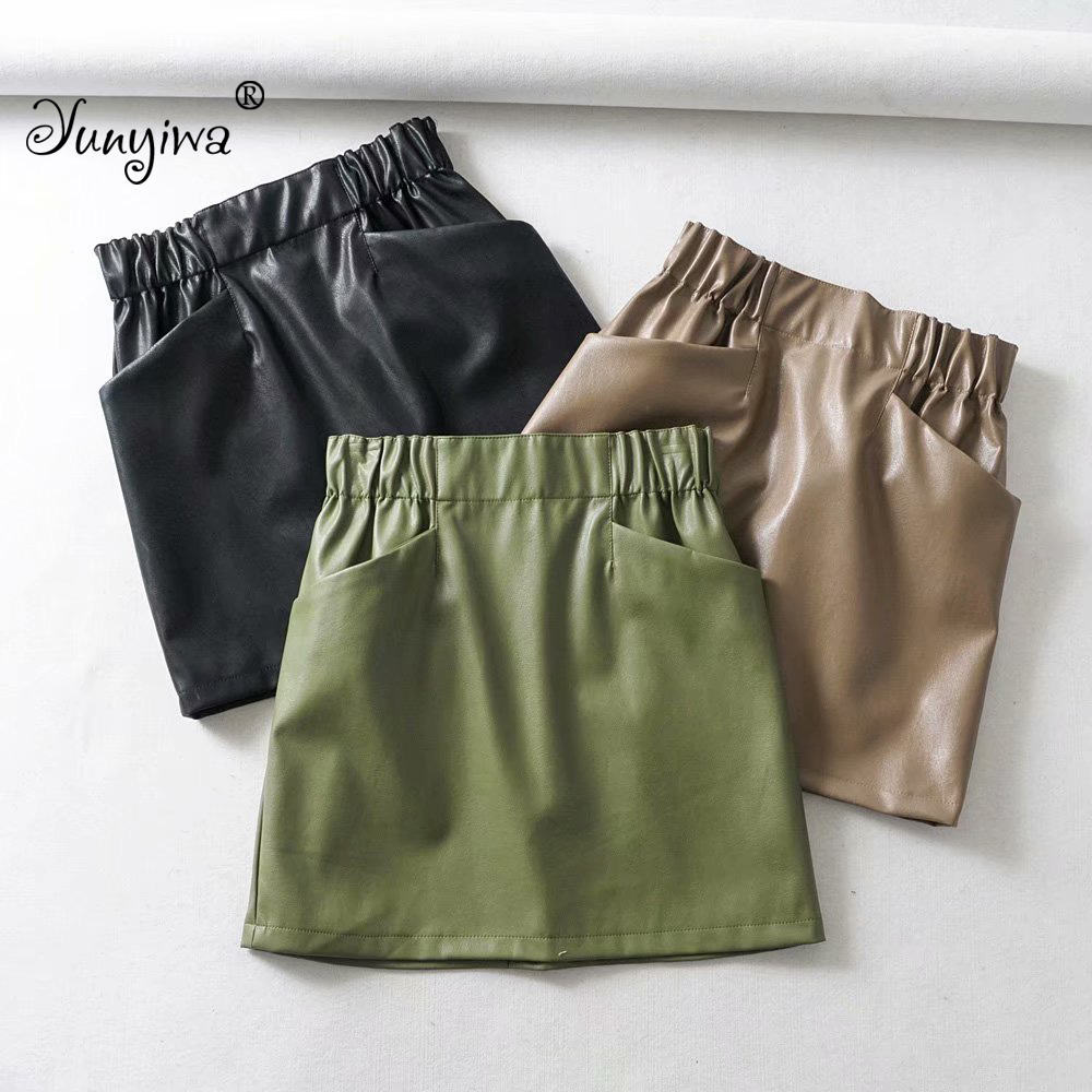 Women Skirts Jupe Femme Elastic-Waist Above-Knee Faux-Leather Double-Pocket Mini Mujer