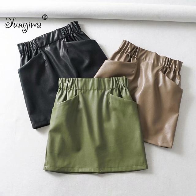 Women Skirts  Above Knee Mini Women's double pocket elastic waist PU Faux leather skirt Jupe Femme Faldas Mujer 1