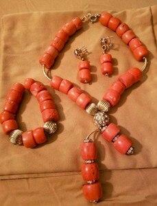 Image 3 - Echte Korallen Halskette Schmuck Set für Bräute Nigerian Afrikanischen Hochzeit Korallen Perlen Schmuck Set Gold Dubai Party Perlen CNR319