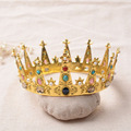 Bridal Ornament Round Baroque Crown Headdress Vintage Luxury Crown Wedding Party Dress Up Noble Crown Headdress WHG042