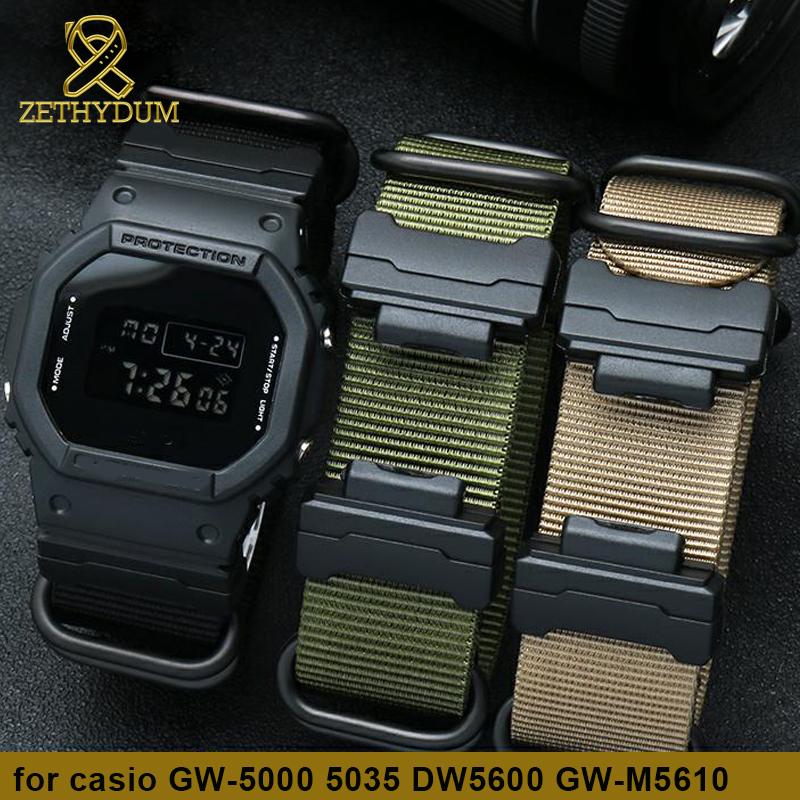 Watchband Terminals Replacement For Casio DW-56006900 GA-110 GW-M5610 Series Nylon Watch Strap+Plastic Interface Watch Band 16mm