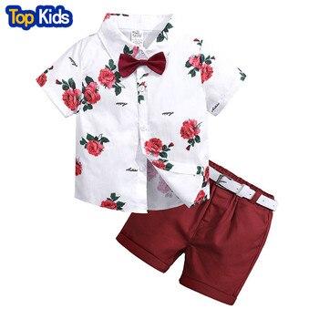 boys clothing sets summer gentleman suits short sleeve rose shirt+shorts+belt 3pcs kids clothes children set for 2-7 years MB459 1