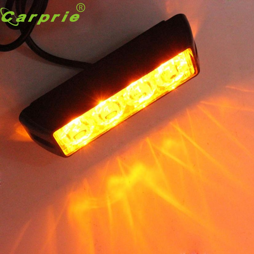 New Arrival Waterproof Car Truck Accessory 4 LED Strobe Flash Amber Light Lamp Bulb M19