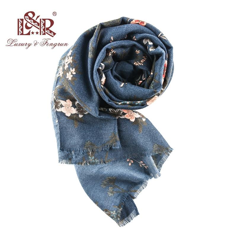 2018 Winter Scarf Cashmere Scarf Women Print Flower Scarf New Designer Wool and Silk Basic Shawls Women's Scarves Face Shield
