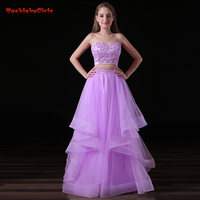 2018 Hot Sale Fairy Purple Long Evening Dress Crystal Appliques Crop Top Suit Pleat Real Photo