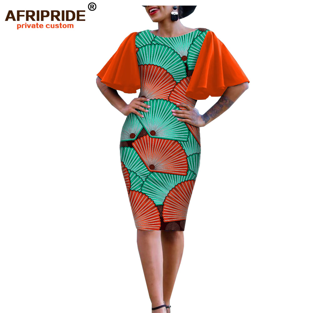 2019 african clothes bodycon dress for women AFRIPRIDE bazin richi short butterfly sleeves knee length wax