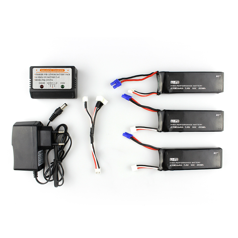 For Hubsan H501S X4 RC Quadcopter Spare Parts Accessories 3x7.4V 2700mAh 10C Battery 1 To 3 Charging Cable w/ Charger Newest new arrival for dji phantom 4 rc quadcopter spare parts 3 in 1 battery charger plates input 17 5v 7a