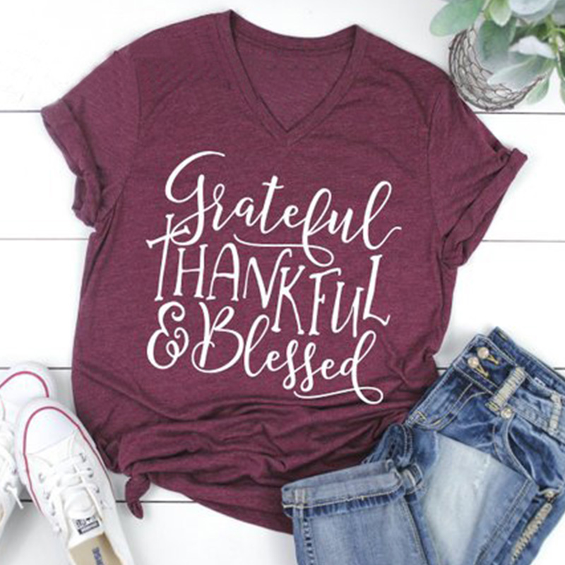 Frauen Dankbar T-shirts Gesegnet T Plus Größe Weibliches Hemd Mama Bär Top Damen Herbst Kleidung Grafik Tops Mode Thanksgiving