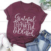 Women Thankful T-shirts Blessed Tee Plus Size Female Shirt Mama Bear Top Womens Fall Clothing Graphic Tops Fashion Thanksgiving