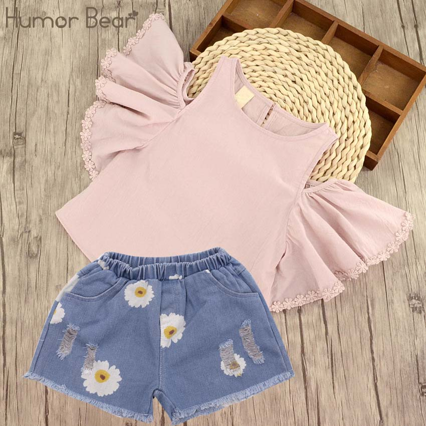 цены Humor Bear Children Clothing 2017 Summer Kids Casual Clothes Girls Clothes Sets Style Printing T-Shirt + Pant 2Pcs Set