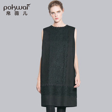 POKWAI Elegant Midi Casual Autumn Cotton Lace Dress Women 2017 Luxury Brand Womens Clothing Sleeveless Straight Dresses