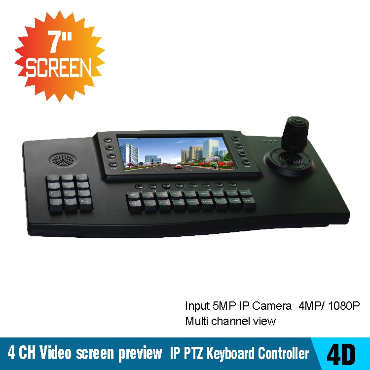 4 CH Video screen preview 4D Joysticker PTZ Network IP Keyboard Controller HDMI 7 TFT LCD 1024*600 Monitor for IPPTZ Camera