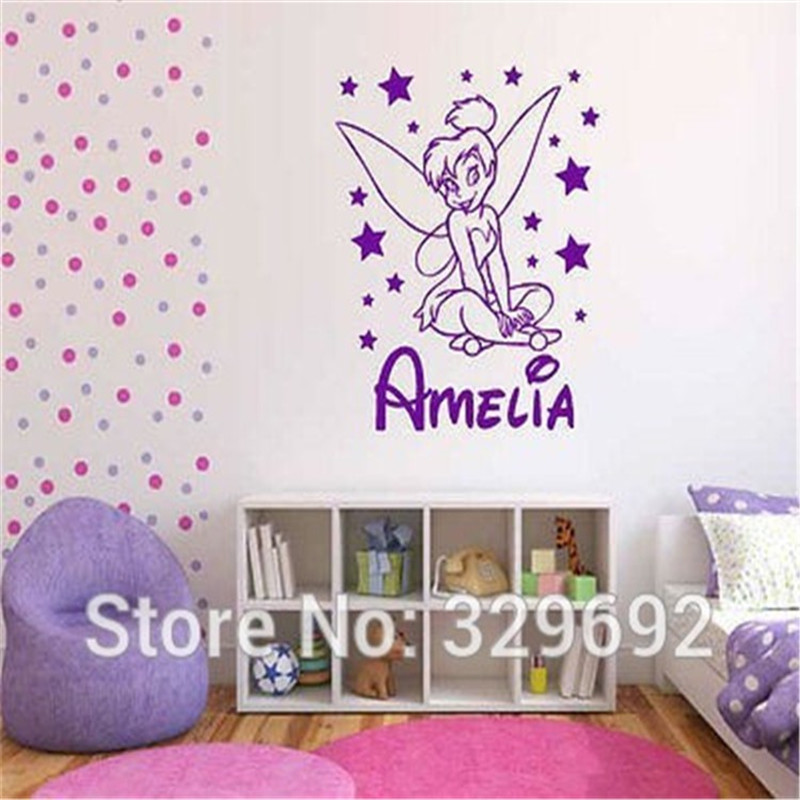 free shipping DIY Name Customized vinly tinkerbell Wall Stickers for kids rooms Wall Art Decal girls Home Decoration Wall Mural
