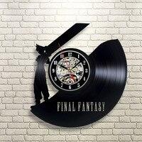 Final Fantasy Vintage Vinyl Zegar Ścienny Wentylator Pomysł Prezent Dla Dzieci Wystrój Pokoju Home Art Party