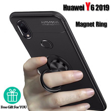 ALLOPUT Huawei Y6 2021 Case Huawei Y 6 2021 Magnet Ring Silicone Case for Huawei Y62019 MRD-LX1 Back Cover Case Huawei Y6 2019