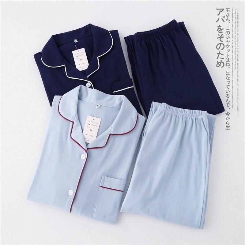 Image 2 - Casual couple Solid 100% cotton pajamas sets men autumn pijamas long sleeve sleepwear men pijamas Japanese pyjamas for male-in Men's Pajama Sets from Underwear & Sleepwears