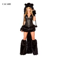 CHEAPEST Sexy Costumes Cosplay Set Cat Women Dance Stage Costume Dance Suit F0649 Black with Fur Hat Gloves Leg Fur Tail