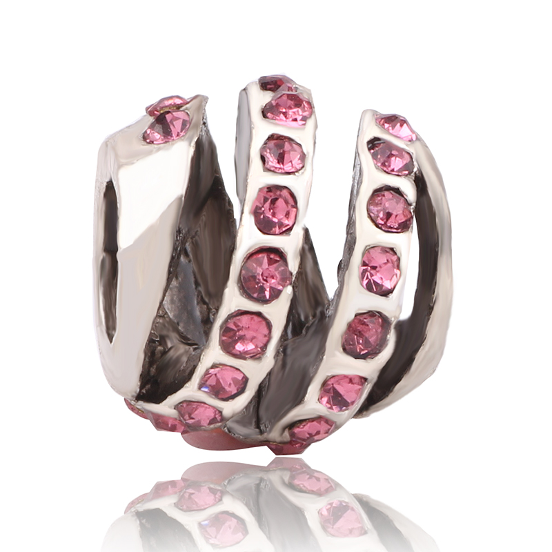 Ranqin Silver Color Love All Around Pink CZ Beads Fit Pandora Charm Bracelet Beads & Jewelry DIY Making