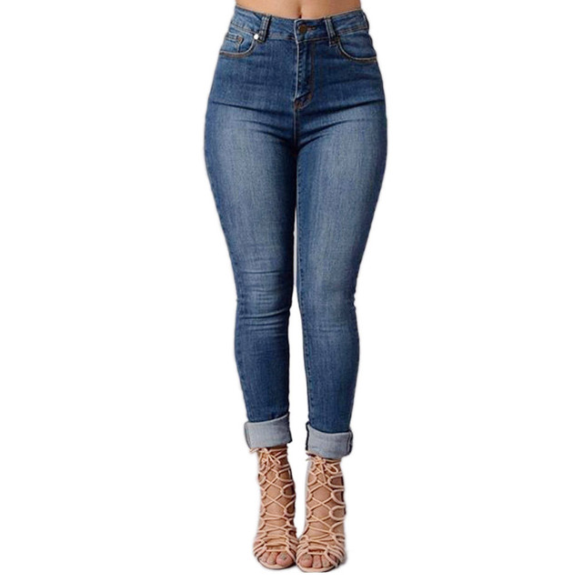 2016 New Brand Fashion Women Soft Denim Pencil Stretch Jeans Casual Lady Slim Skinny Pants Female High Waist Trousers Dec1