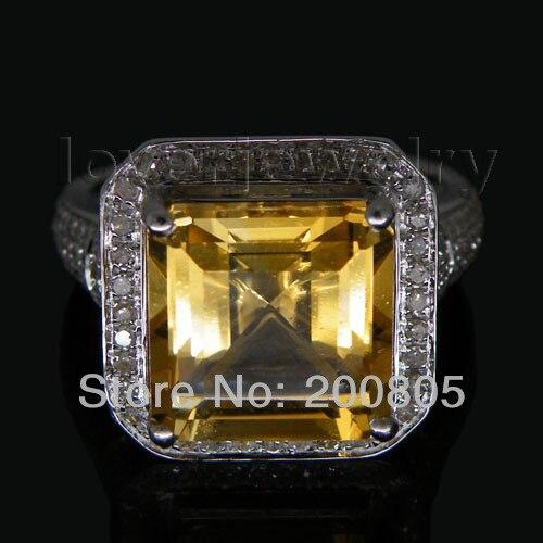 6.42Ct Solid 14Kt White Gold Diamond Citrino Anello, Anello di Nozze di Fidanzamento In Vendita G090326