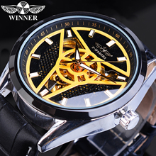 цена на Winner Brand Automatic Men Sport Watch Creative Wheel Design Golden Skeleton Punk Mechanical Leather Wrist Watches Relogio Homme