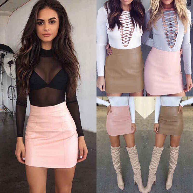 31aed9c98 Moda mujer falda de cuero sólido Bodycon Delgado lápiz Mini Falda ...