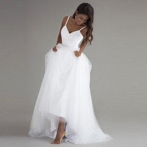 Image 3 - Spaghetti bretelles Robe de mariée plage 2018 Vintage dentelle haut Sexy ivoire robes de mariée chine sur mesure Robe de mariée