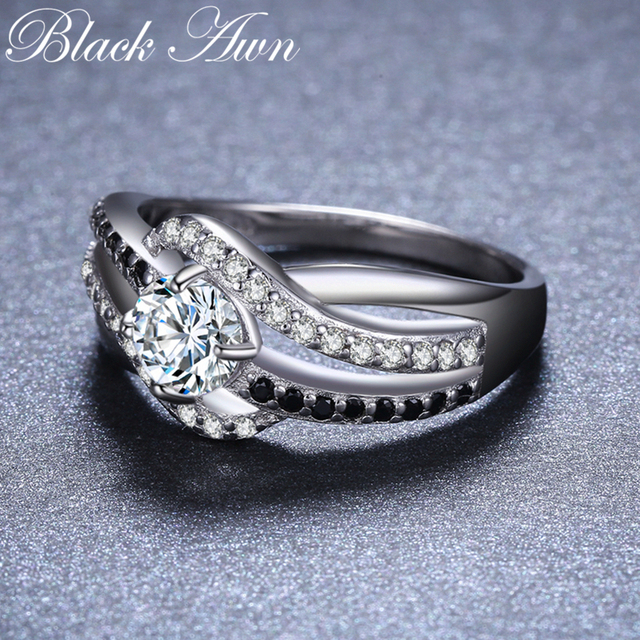 [BLACK AWN] Fine 3.5G Genuine 925 Sterling Silver Jewelry Trendy Engagement Rings for Women Wedding Ring C047 3