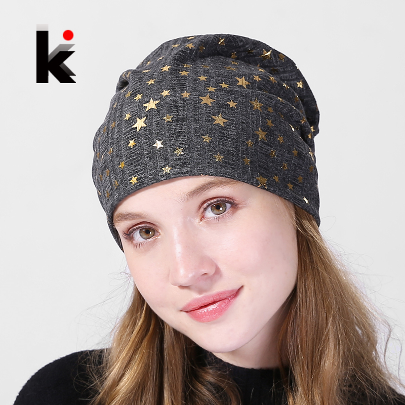 Women's   Beanies   Hat Autumn Cotton Bronzing Stars Bonnets Cap Ladies Solid Comfortable   Skullies     Beanie   Women Fashion Spring Hat
