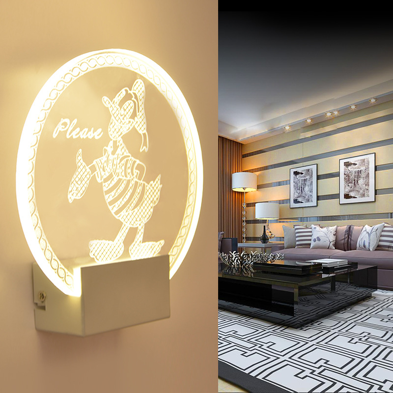 Acrylic Led wall lamps Donald Duck light Creative bedroom bedside lamp LED bathroom living room indoor led wall Lights IY121704