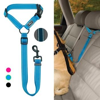 Автомобильный ремень безопасности для собак, ремни безопасности для собак, безопасный нейлоновый поводок для собаки, подголовник автомоби...