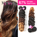 7A Ombre Brazilian Virgin Hair Loose Wave 4 Bundles Soft Weave Ombre Hair Extensions T1B/4/30 Ombre Brazilian Hair Weave Bundles