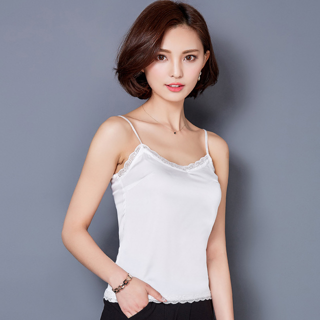 Sleeveless V Neck Silk Basic Tops Blusas Casual