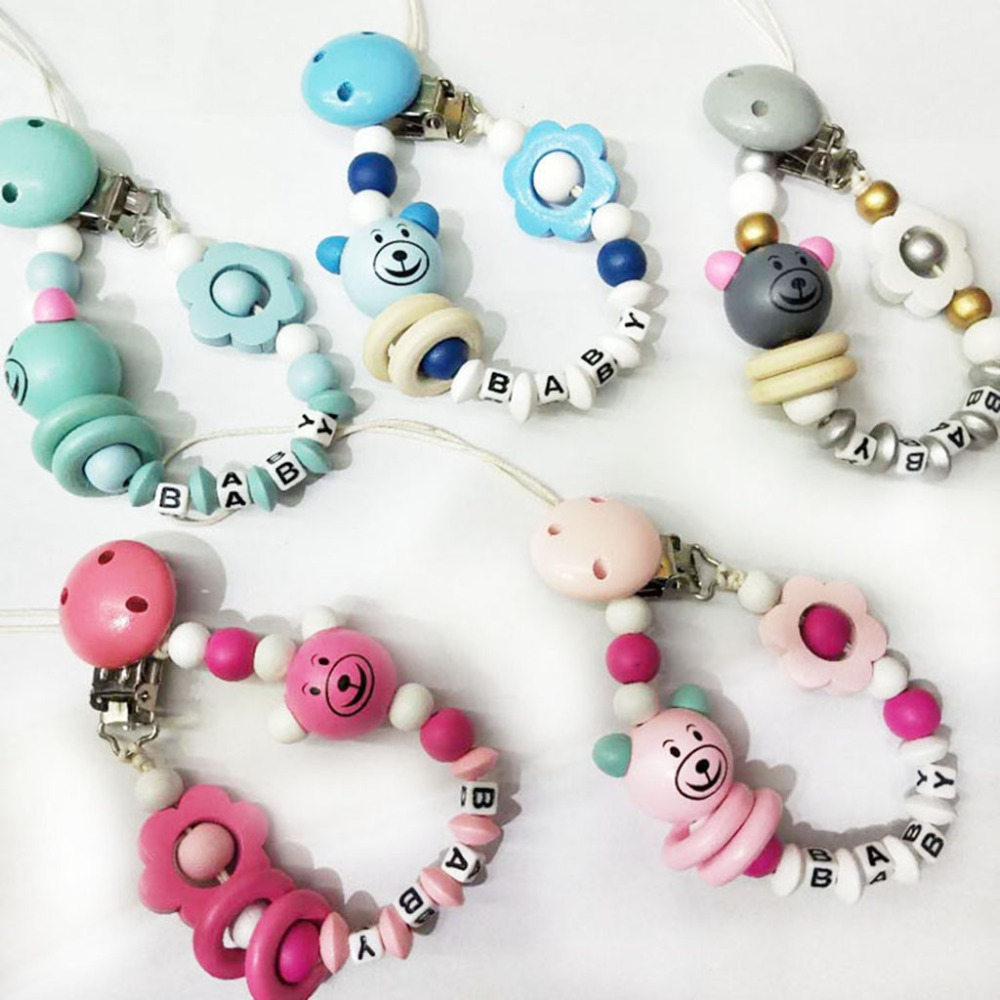 Pacifier Clip Baby Nipple Holder Chain Bear Floral Beads Silicone Wood Soother Letter Anti Drop Infant Feeding Newborn Nursing S
