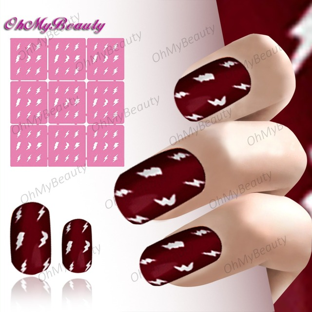 Easy Reusable Nail Vinyls Lightning Pattern DIY Art Template Stickers Stamp Stencil Guide