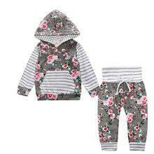 Одежда для маленьких девочек комплект из 2 предметов, комплект одежды для новорожденных, топы с капюшоном, штаны Одежда для маленьких девочек весенне-осенние комплекты с длинными рукавами