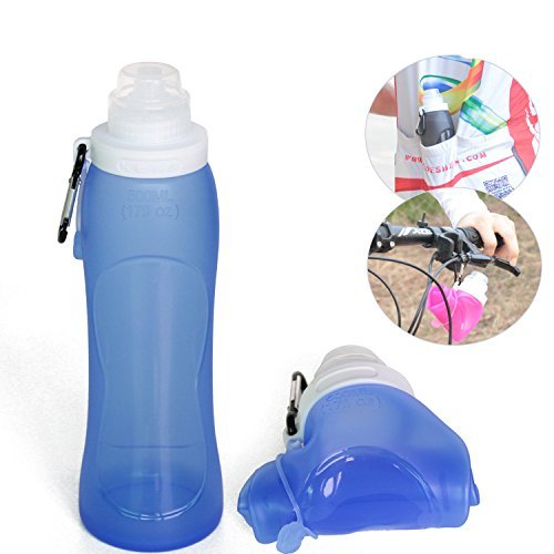 Portable collapsible silicone water bottle for outdoor cycling, camping, bicycle, bike – 500ml sports drinking Water Bottle