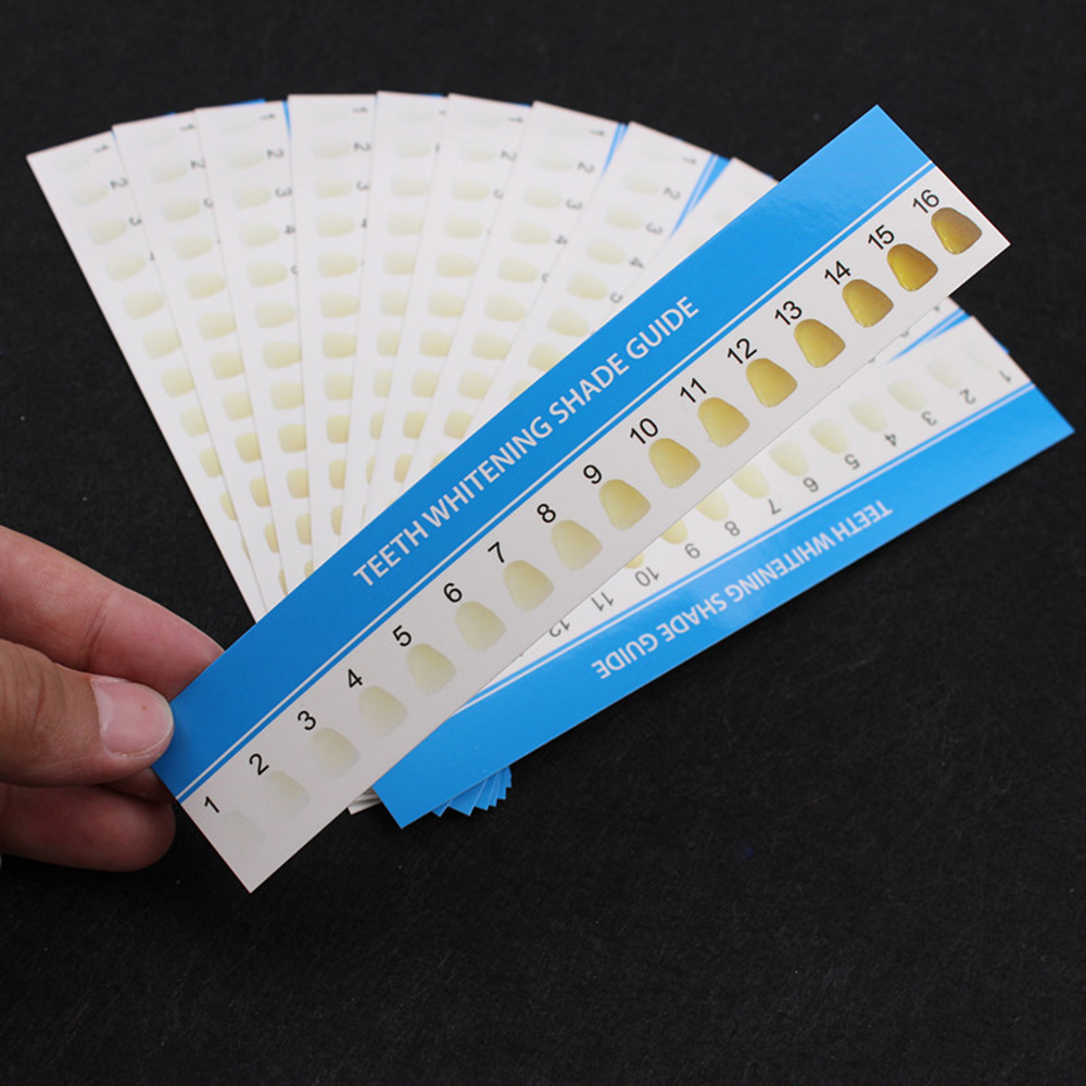 16 Colors Professional Paper Teeth Tooth Whitening Shade Guide Chart