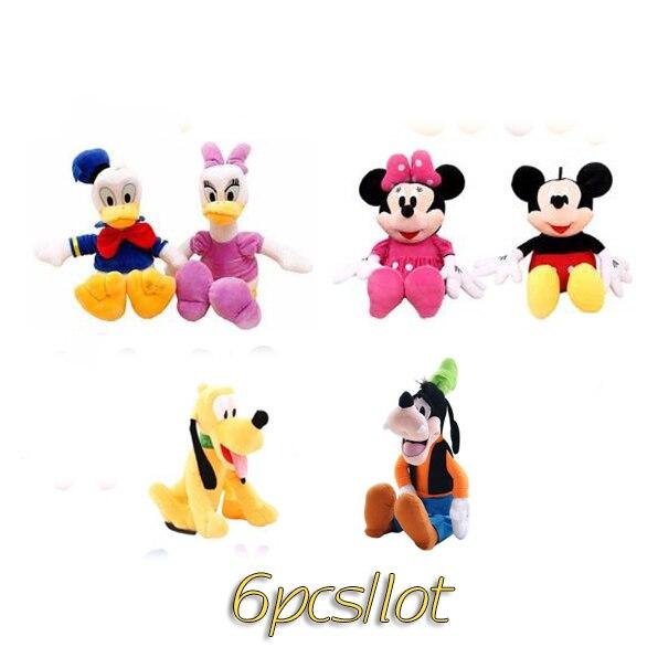 Ggs 6 pc/lote 30cm mickey e minnie mouse, pato donald e margarida pato, goofy cão, pluto cão, brinquedos de pelúcia bonecas para o presente de natal do miúdo