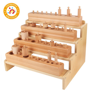 Montessori Material Baby Toy Block Learning Shape Early Education Cylinder Blocks