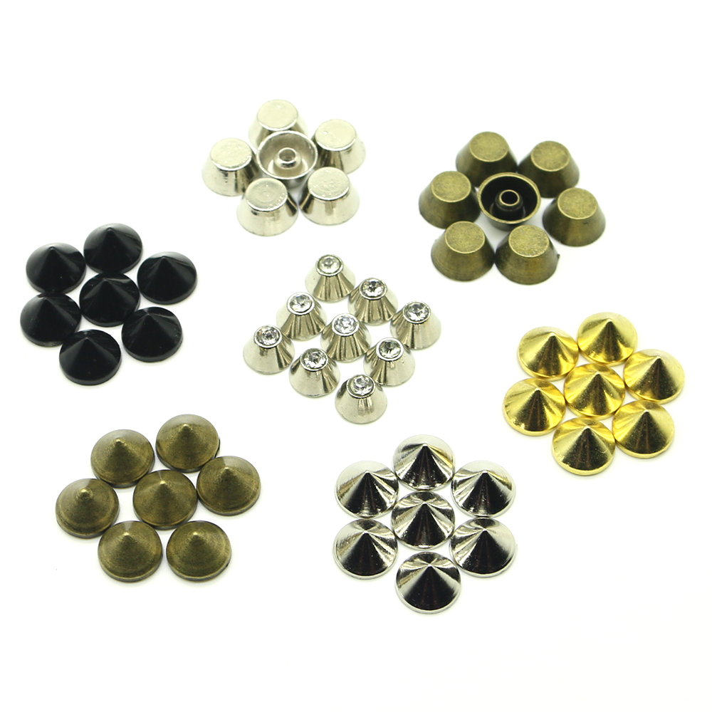 50Sets/pack bucket rivet Zinc Alloy Open-end Rivets For Leather studs and spikes for clothes Drill cone rivet H-06