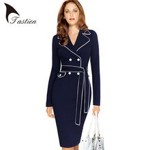 TASTIEN Womens Autumn Elegant Lapel Notched Collar Belted Button Contrast Wear to Work Business Office Sheath Fitted Dress 4XL