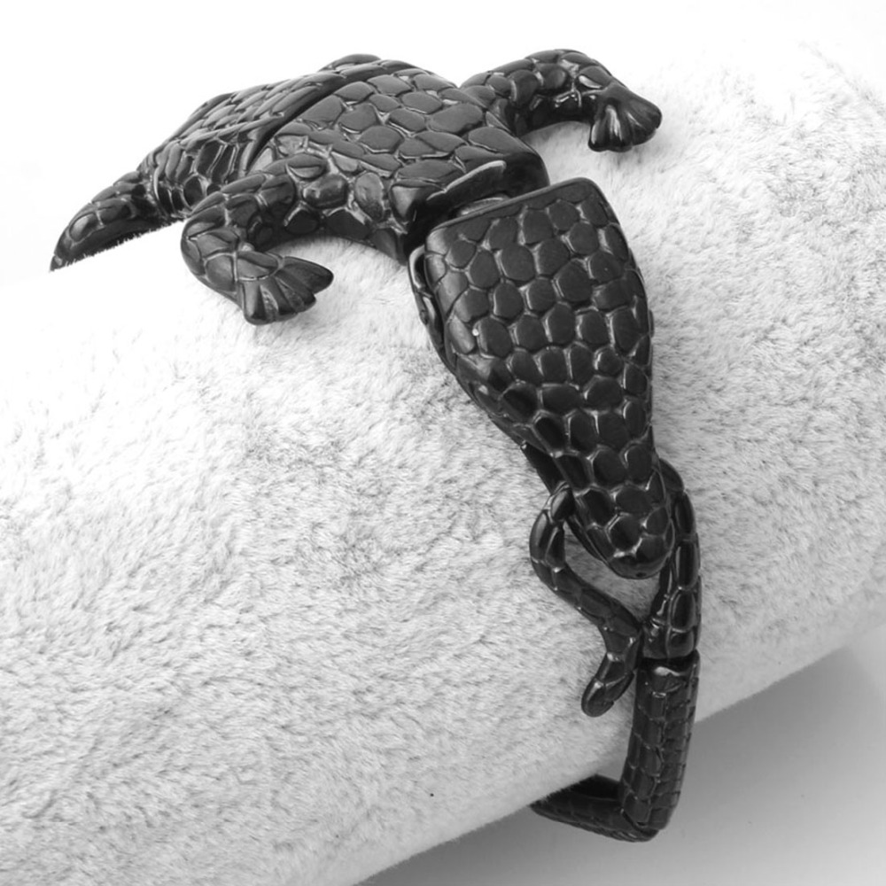 50mm Personality Design Stainless Steel Black Crocodile Cuff Bangle Punk Men