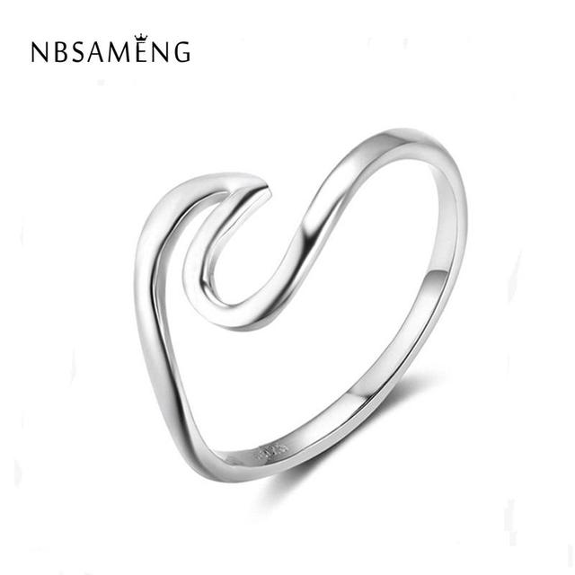 Real 925 Sterling Silver Wave Ring For Women Men Fashion Jewelry