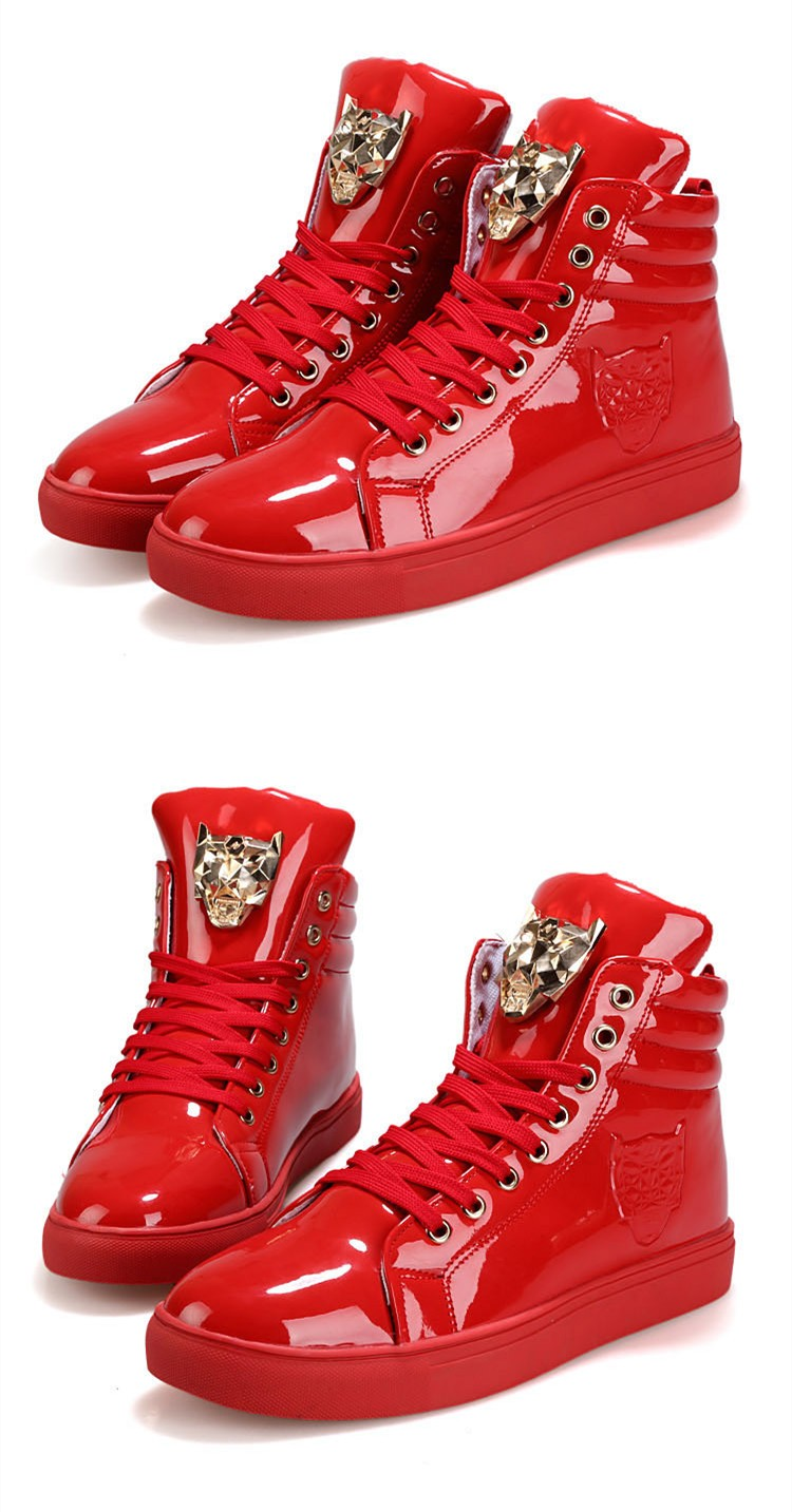 Fashion Leopard Sequined Skate Shoes For Men Ankle Boots 2015 New PU Patent Leather Shoe High Top Casual Flats Medusa Shoes F184 (13)