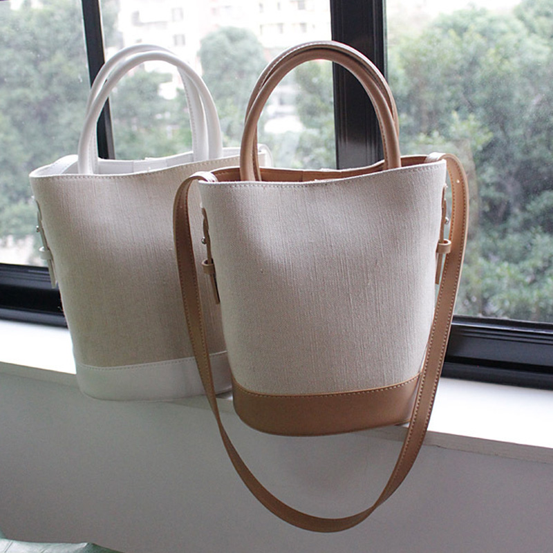 Women's Canvas Bag Retro Round Bucket Bag Crossbody PU Leather Handbags Women's Shoulder Bag