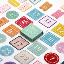 LOLEDE 40pcs/set Date Number Memo Pad Sticky Notes Notebook Stationery Paper Stickers
