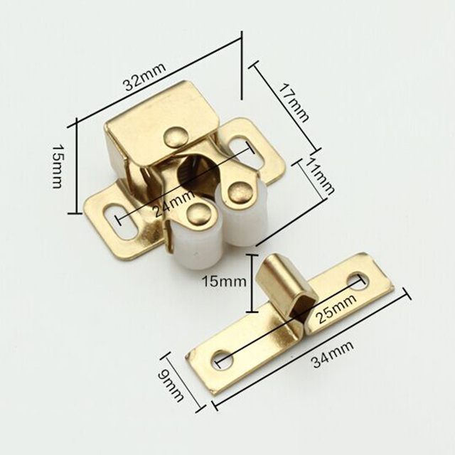 Golden Color Cabinet Door Latch Kitchen Pantry Stopper Double Roller ...
